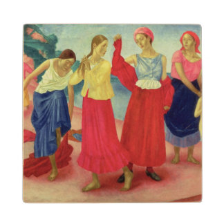Young Women on the Volga, 1915 Wood Coaster