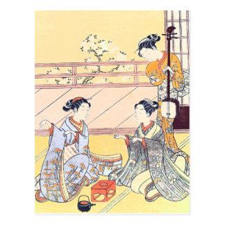Young Women Playing Kitsune-ken Postcard