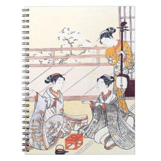 Young Women Playing Kitsune-ken Spiral Notebook