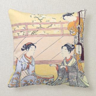 Young Women Playing Kitsune-ken Throw Pillow