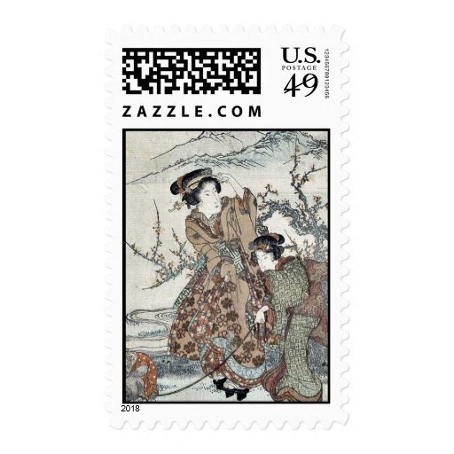 Young women walking a monkey by Ikeda,Eisen Postage Stamp