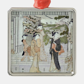 Young women with a basket of chrysanthemums metal ornament
