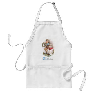 Young Wreath Makers Vintage Christmas Adult Apron