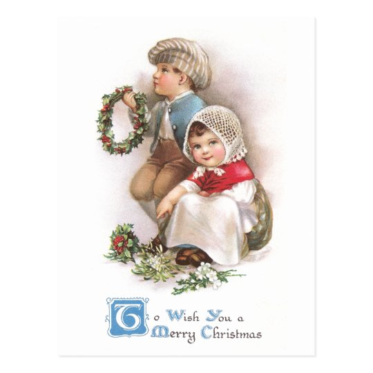 Young Wreath Makers Vintage Christmas Postcard