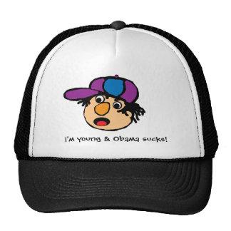¡youngdude, soy joven y Obama chupa! Gorro De Camionero