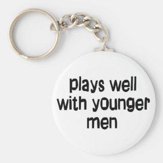Younger men basic round button keychain