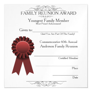 Youngest Member Elegant Family Reunion Awards Magnetic Card
