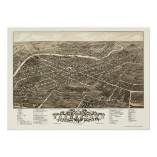 Youngstown, mapa panorámico del OH - 1882 Póster