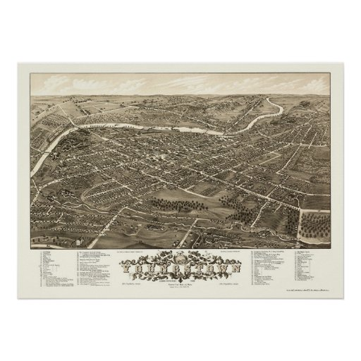 Youngstown, OH Panoramic Map - 1882 Posters