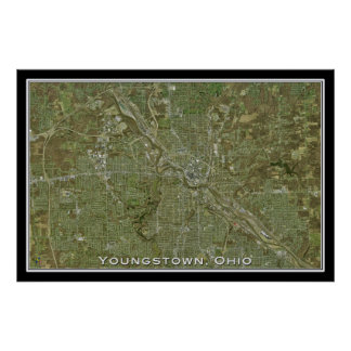 Youngstown Ohio From Space Satellite Art Poster