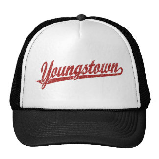 Youngstown script logo in red distressed mesh hat