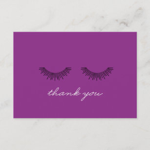 younique thank you note purple eyelashes