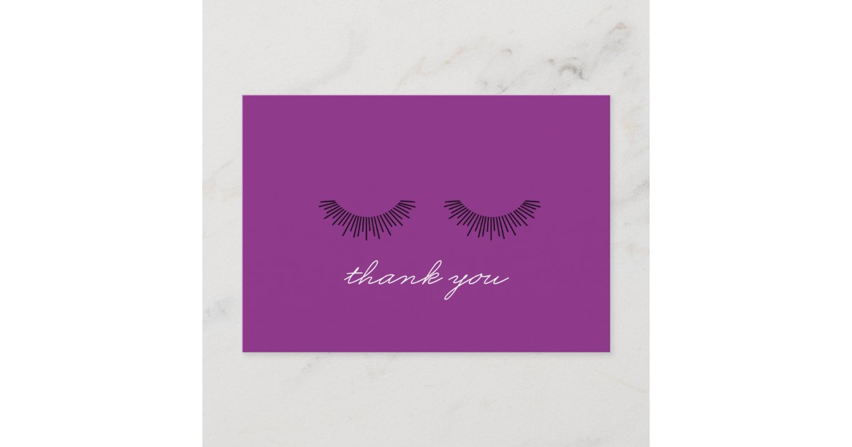 Younique Thank You Note Purple Eyelashes Zazzle Com