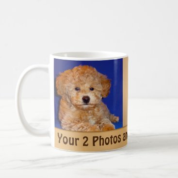 Coffee Themed Your 2 Photos and Text Personalized Coffee Mugs