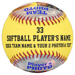 640b6d9866708 Your 2 Photos and Text Personalized Softball Ball