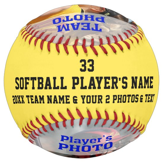 Your 2 Photos and Text Personalized Softball Ball