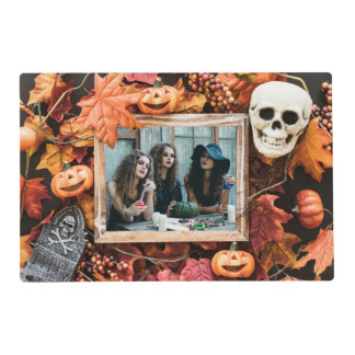 YOUR 2 PHOTOS in a Halloween Frame placemat