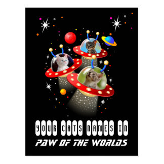 Your 3 Cats in an Alien Spaceship UFO Sci Fi Scene Postcard