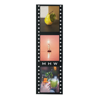 "YOUR 3 PHOTOS & MONOGRAM ""film strip"" wall panel"