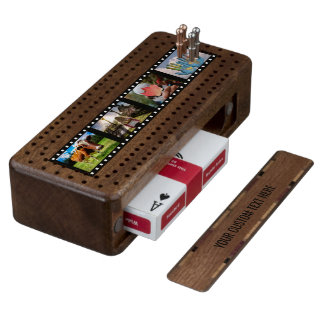 YOUR 4 PHOTOS & TEXT custom Cribbage set Wood Cribbage Board