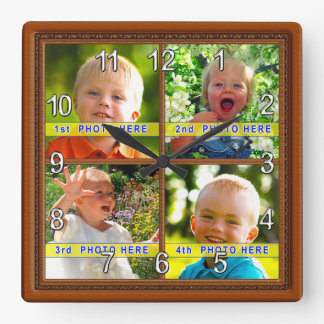 Your 4 Pictures Personalized Photo Clock Gift Idea