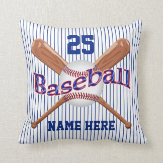 YOUR 4 TEXT Old Fashioned Stripe Baseball Pillow