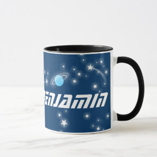 Your 8 letter name space red black kids mug