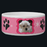 "Your A Star Dog Dish - Customize Photo<br><div class=""desc"">Adorable ceramic pet bowl for your dog. Pretty pink star pattern on has small dog bones and paw print decorations. Gel style border is ready to frame your dogs photo for a special custom touch. Click the customize button on lower right side of this preview to access tool to upload...</div>"