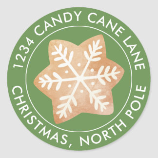 Your Address Here   Gingerbread Snowflake Classic Round Sticker