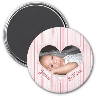 Your Baby Girl in Pink Heart on Pink Stripes Magnet