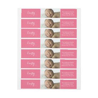 Your Baby Girl Photo Pink Return Address Wraparound Return Address Label