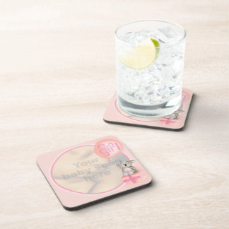 """Your baby photo """"It's a Girl"""" set of 6 coasters"""