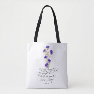 Your beauty inspirational handwritten verse tote bag