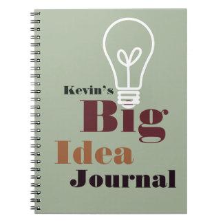Your big idea journal modern light bulb gray note book