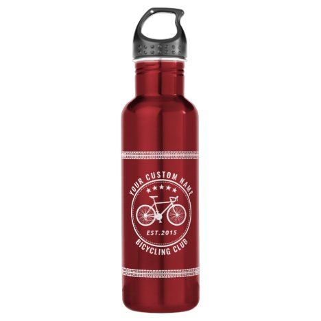 Your Bike Club or Location Name Custom Red Stainless Steel Water Bottle