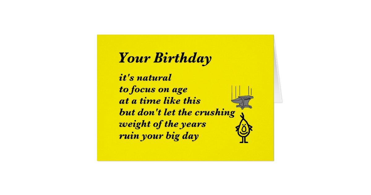 your birthday   a funny birthday poem card zazzle