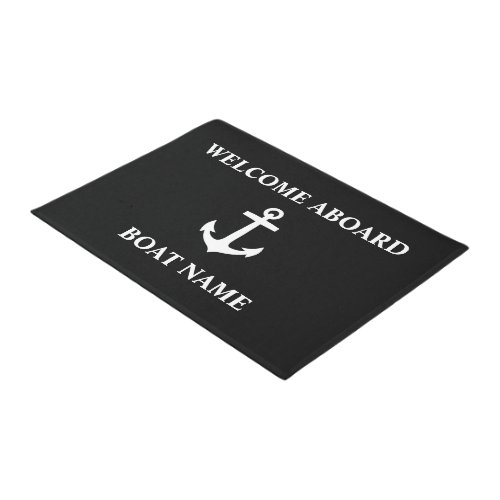 Your Boat Name Anchor Black Welcome Aboard Doormat
