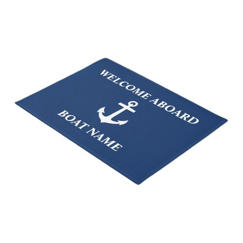 Your Boat Name Anchor Blue Welcome Aboard Doormat