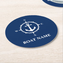 Your Boat Name Compass Anchor Blue Round Round Paper Coaster