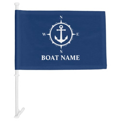 Your Boat Name Compass Anchor Flag