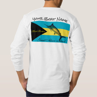 Your Boat Name with the Bahamas Flag and a Marlin T-Shirt