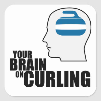 Your brain on curling square sticker