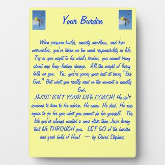 Your Burden Photo Plaque