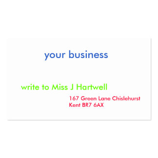 your business, 167 Green Lane Chislehurst Kent ... Business Card Templates