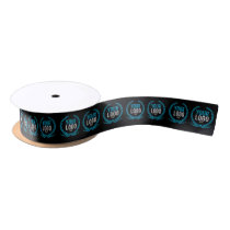 Your Business Logo All Over Patterned Black Satin Ribbon