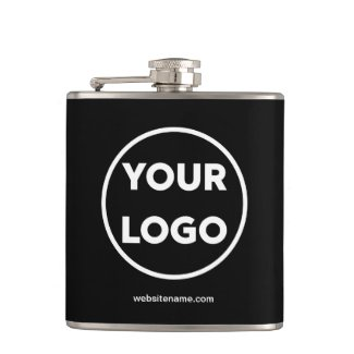 Your Business Logo and Company Website on Black Flask
