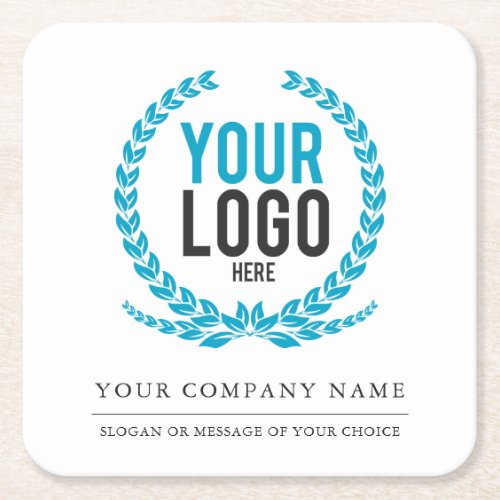 Your Business Logo and Message  Slogan Square Paper Coaster