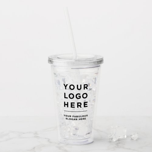 Your Business Logo Tumbler with Straw No Minimum