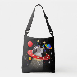 Your Cat in an Alien Spaceship UFO Sci Fi Scene Crossbody Bag