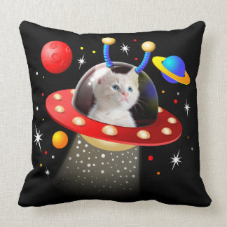 Your Cat in an Alien Spaceship UFO Sci Fi Scene Throw Pillow